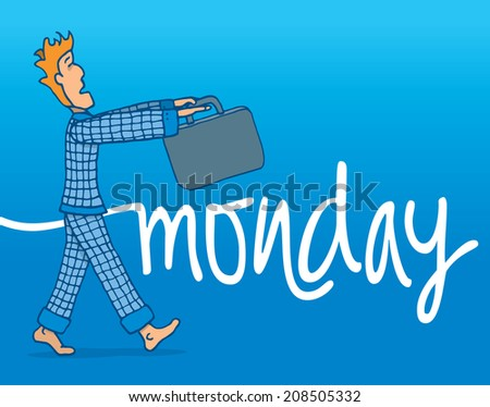 Cartoon illustration of tough monday morning for a sleep walking businessman - stock vector