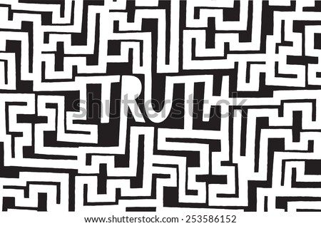 Cartoon illustration of truth word inside a complex maze or labyrinth - stock vector