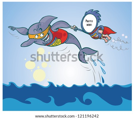 Cartoon illustration of two funny superheroes. Just put the photo in the hole. - stock vector