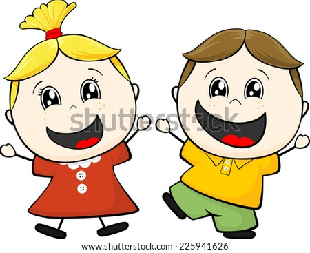 cartoon illustration of two happy little children isolated on white background