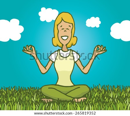 Cartoon illustration of woman practicing yoga and meditating outdoors feeling nature - stock vector