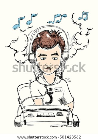 cartoon illustration of young Disk Jokey playing turn table with pertiture sign over his head isolated on white