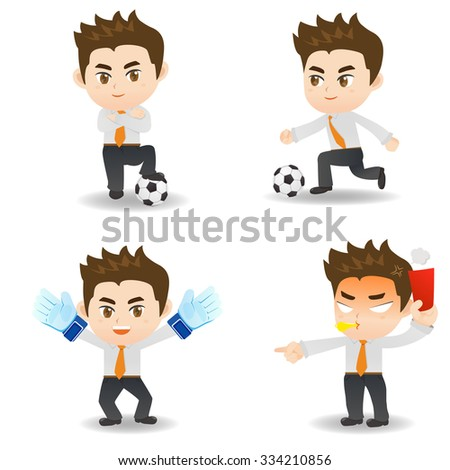 cartoon illustration set of Business man competitive, soccer game