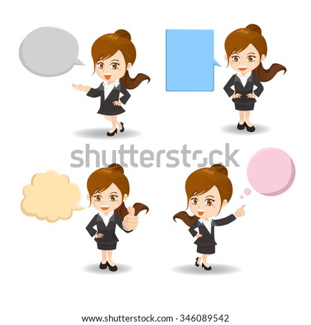 cartoon illustration set of Business woman with empty speech bubbles - stock vector