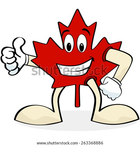 Cartoon illustration showing a happy Canadian maple leaf making the thumbs up sign - stock vector