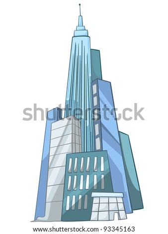 Cartoon Illustration Skyscraper Isolated on White Background. Vector.