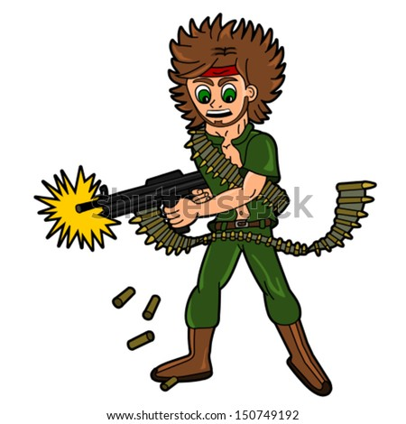 Cartoon / Illustration - soldier or mercenary firing from machine gun isolated on a white background - stock vector