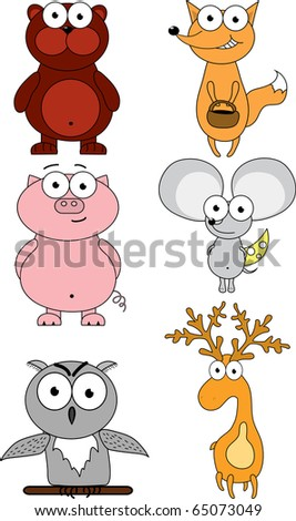 Cartoon illustration with different animals - stock vector