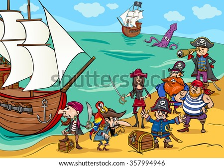 Cartoon Illustrations of Fantasy Pirate Characters with Ship on Treasure Island - stock vector
