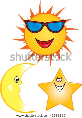 Cartoon illustrations of smiling sun, moon and star.