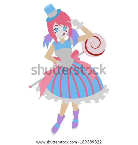 cartoon image of a cute colorful clown - stock vector