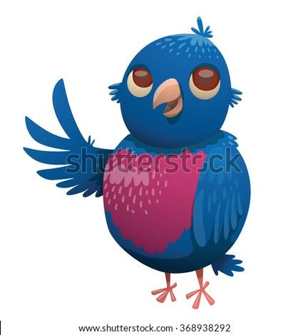 Cartoon image of a funny fantasy beautiful tropical plump bird with bright blue-purple feathers, small blue tail and a small beak standing on a white background. Vector illustration. - stock vector