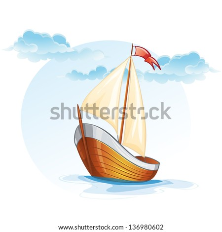 Cartoon image of a wooden sailing boat. - stock vector