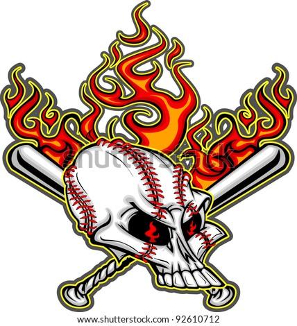 Cartoon Image of Flaming Baseball Bats and Skull with Baseball Laces - stock vector