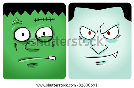 Cartoon image of frankenstein and vampire. See my portfolio for other monster - stock vector