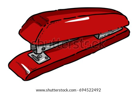 Cartoon image of Stapler. An artistic freehand picture.