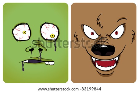 Cartoon image of zombie and werewolf. See my portfolio for other halloween themes. See my portfolio for other monster - stock vector