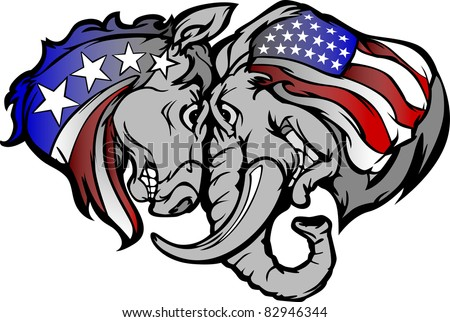 Cartoon Images of  Political Mascots Donkey and Elephant - stock vector
