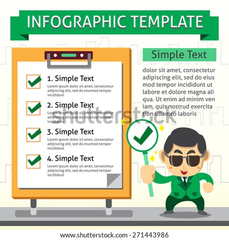 Cartoon infographic template of business man and check board - stock vector