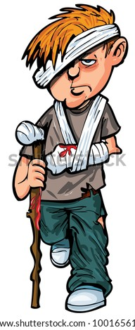 Cartoon injured man with walking stick and bandages. Isolated - stock vector