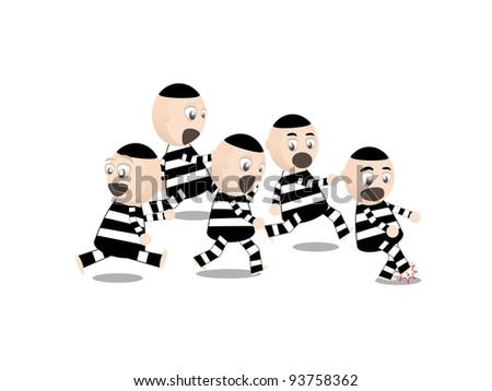 cartoon inmates escape - stock vector