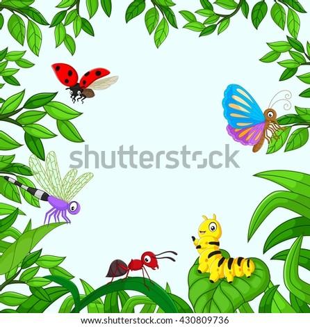 Cartoon insect in the garden - stock vector