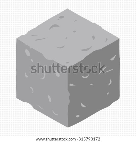 Cartoon Isometric rock stone game brick cube. The vector illustration for ui, web games, tablets, wallpapers, and patterns. - stock vector