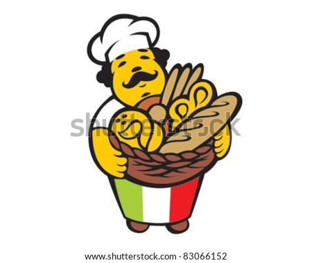 Cartoon italian baker takes basket with bread and buns - stock vector