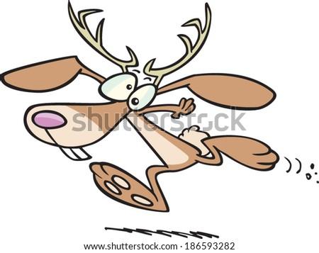 cartoon jackalope running - stock vector