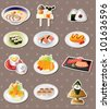 cartoon Japanese food stickers - stock vector
