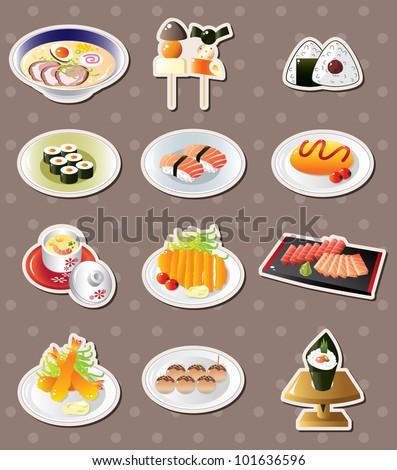 cartoon Japanese food stickers - stock vector