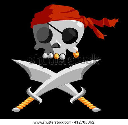 cartoon jolly roger. pirates flag - stock vector
