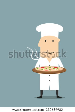 Cartoon joyful baker in white chef hat carrying fresh baked hot pepperoni pizza on wooden plate - stock vector