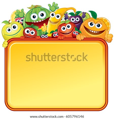 Cartoon Juicy Fruits Banner. Vector Image For Text and Design.