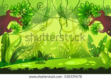 cartoon jungle background tropical landscape vector stock vector rh shutterstock com Jungle Background Clip Art cartoon jungle background vector