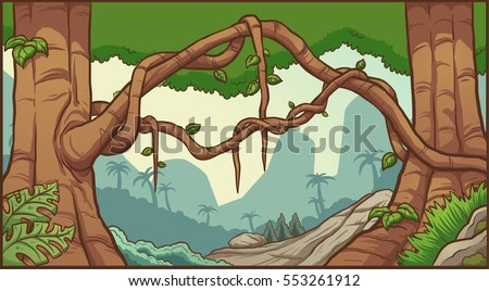 Cartoon jungle background. Vector clip art illustration with simple gradients. Layers are separate.