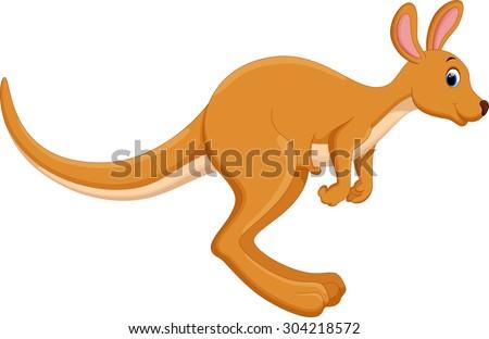 Cartoon kangaroo jumping - stock vector