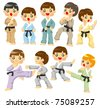 cartoon Karate Player icon - stock vector