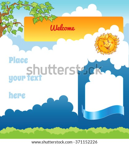 Cartoon kid background with clouds - stock vector