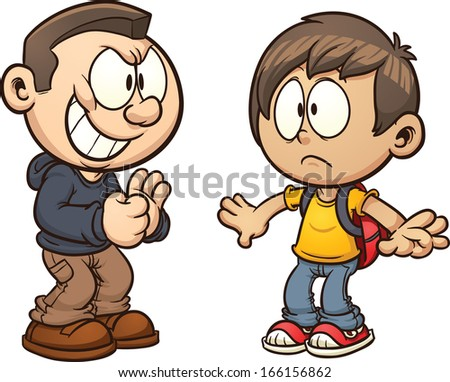 Cartoon kid getting bullied. Vector clip art illustration with simple gradients. Each kid on a separate layer. - stock vector