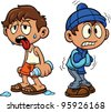 Cartoon kid in hot and cold weather. Vector illustration, Each in a separate layer for easy editing. - stock vector
