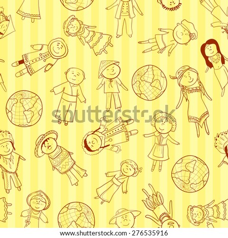 Cartoon kids in different traditional costumes, vector seamless pattern - stock vector