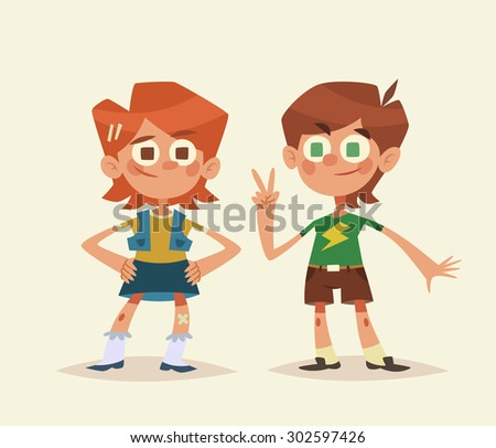 Cartoon kids isolated. Boy and girl. Vector illustration. - stock vector