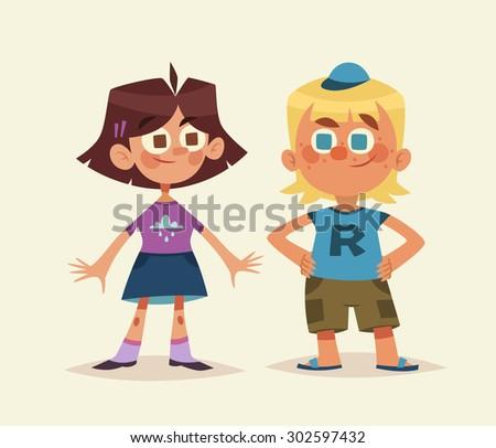 Cartoon kids isolated. Boy and girl. Vector illustration. - stock vector