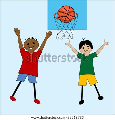 cartoon kids playing basketball - stock vector
