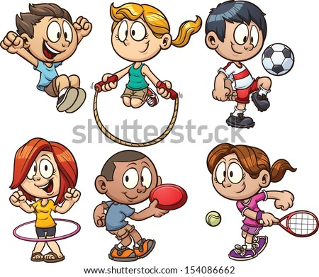 Cartoon kids playing. Vector clip art illustration with simple gradients. Each on a separate layer.  - stock vector