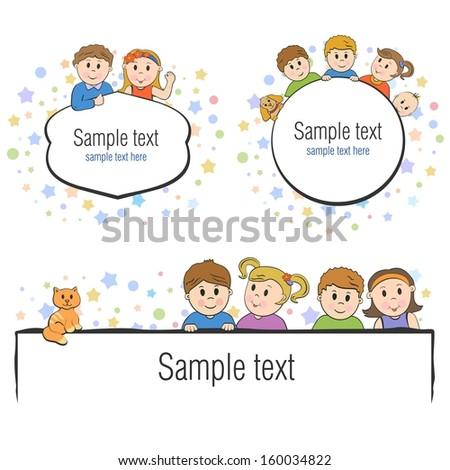 cartoon kids vector frame - stock vector
