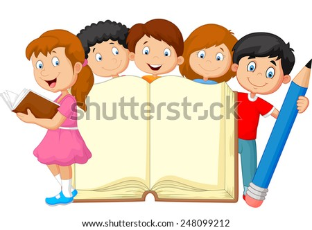 Cartoon kids with book and pencil - stock vector