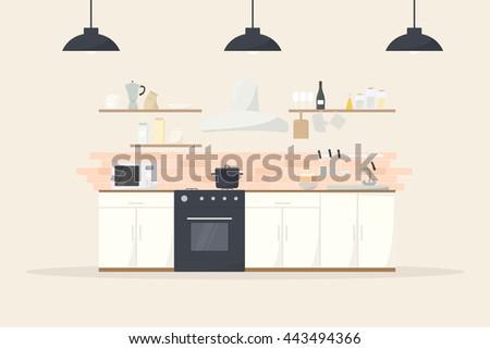 cartoon kitchen interior - stock vector