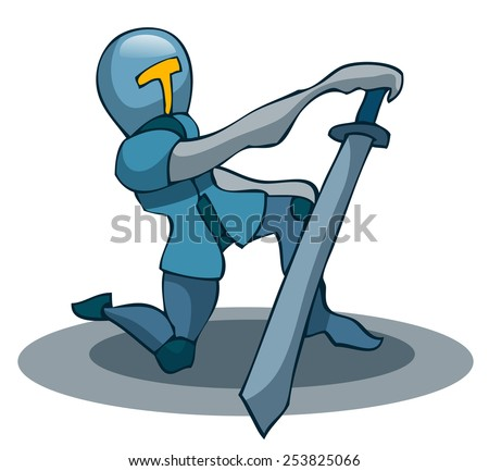 Cartoon Kneeling Knight with a Sword, Vector Illustration isolated on White Background.  - stock vector